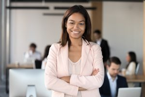 businesswoman with confident smile